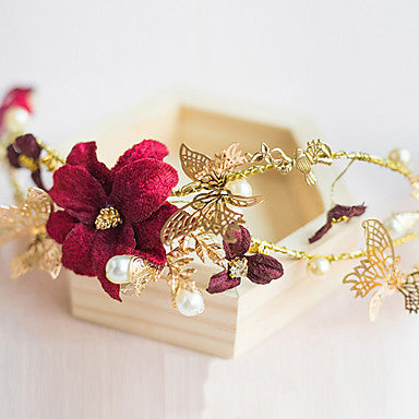 Golden Butterfly and Red Floral Bridal Tiara