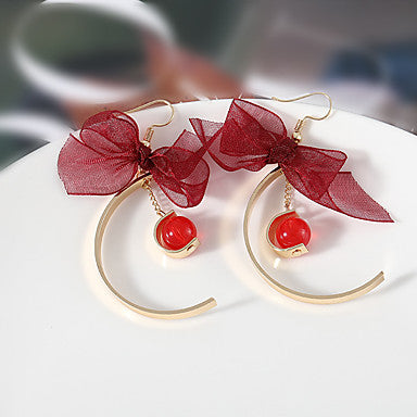 Red and Gold Half Moon Holiday  Bow Drop Earrings