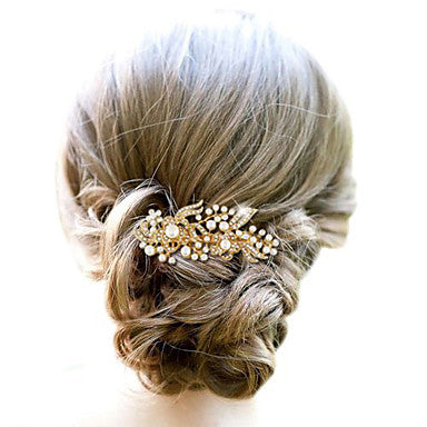 Imitation Pearl and Rhinestone Floral Bridal Comb