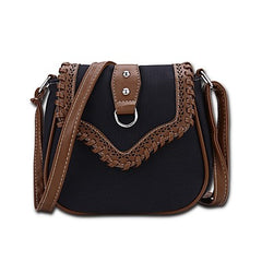 Southwestern Style Faux Leather Laced Crossbody Bag Black