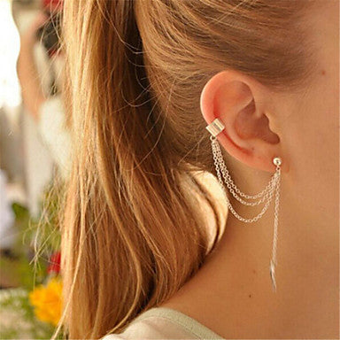 Helix Cuff and Single Pierced Dangle Leaf Chain Earring