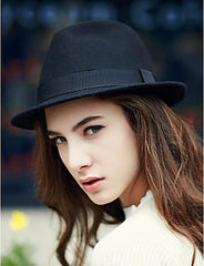 Women's Solid Cotton Wool Blends Fedora Hat