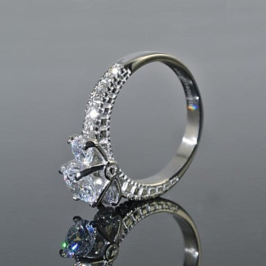 Women's Cubic Zirconia Stainless Steel Engagement Ring