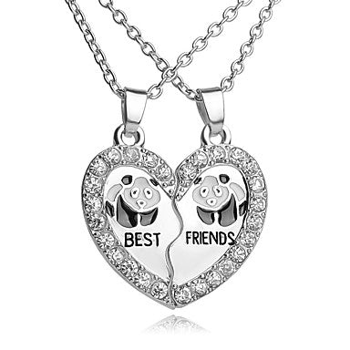 Best Friends Heart With Necklace With Cute Panda Engraved