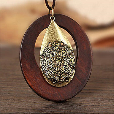 Hollow Wooden and Mandala Design Pendant Necklace