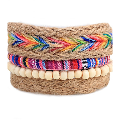 Boho Adjustable 4 Stackable Beaded and Fabric Bracelets