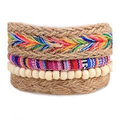Boho Adjustable 4 Stackable Wood and Fabric Bracelets