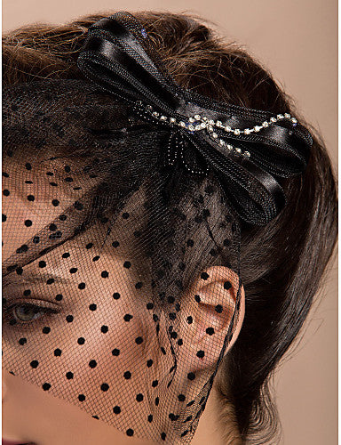 Elegant Black Polkadot and Ribbon Blusher Veil