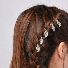 Decorative Metal Leaf Hair Rings For Braided Hair Styles