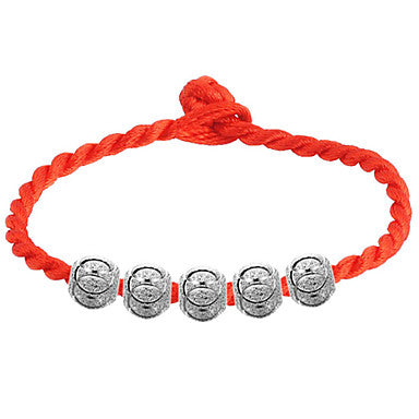 Orange Braided Friendship Bracelet With 5 Round Metallic Beads