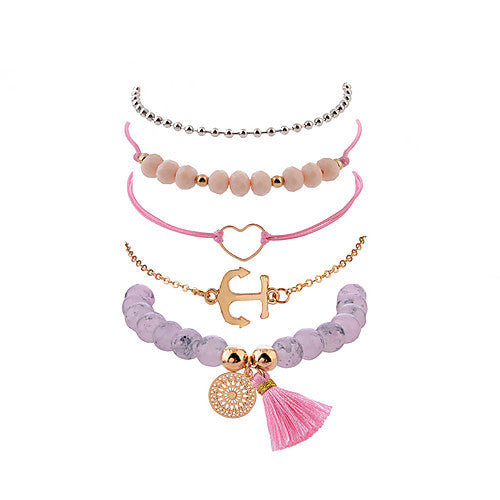 5 Piece Pink and Gold Anchor Heart Mandala Stackable Bracelets
