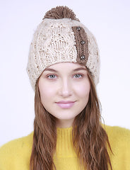 Two Tone Braided Knit Pom Pom Beanie Hat
