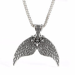 Mermaid Fin Pendant Necklace Silver
