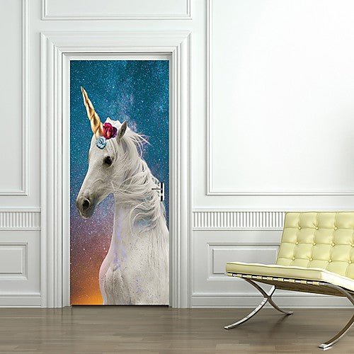 White Unicorn Door Sticker