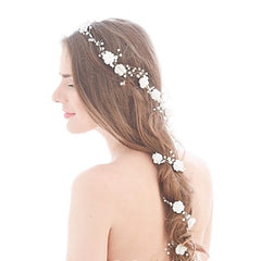 Imitation Pearl Floral Bridal Headpiece (Bridal Hair Vine) For Long Hair