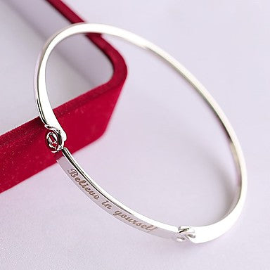 Inspirational Believe In Yourself Bracelet Bangle Silver