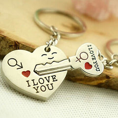 His and Hers Heart and Key Shaped I Love You Keychain