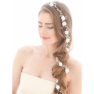 Floral Imitation Pearl Headpiece For Long Hair