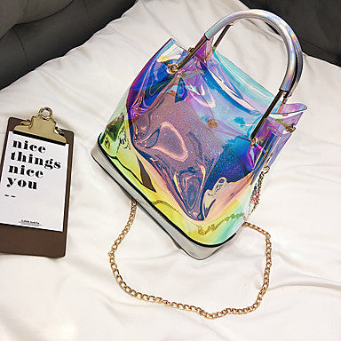 PVC 2 Piece Transparent Tote and Chain Strap Shoulderbag