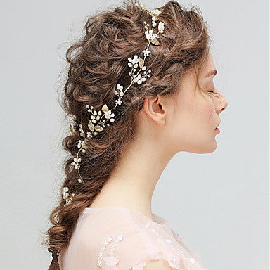 Delicate Imitation Pearl Floral Accented Bridal Hair Vine