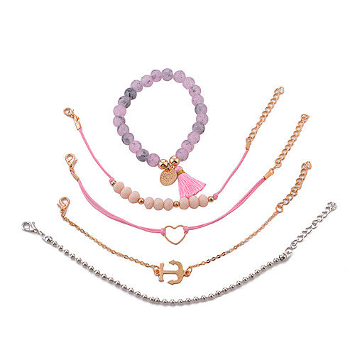 5 Piece Pink and Gold Adjustable Anchor Heart Mandala Stackable Bracelets