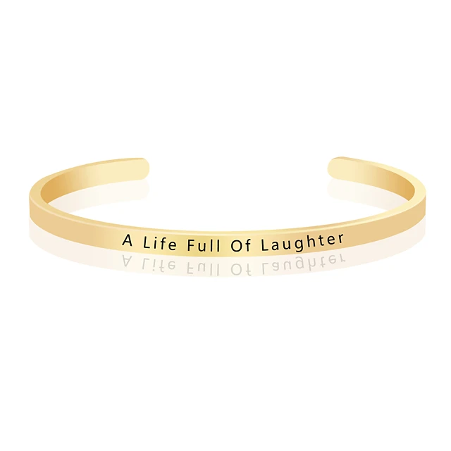 Minimalistic and Adjustable A Life Full Of Laughter Life Quote Bangle Bracelet Cuff Gold