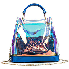 2 Piece PVC Transparent beach tote and chain shoulderbag with nontransparent makeup bag.