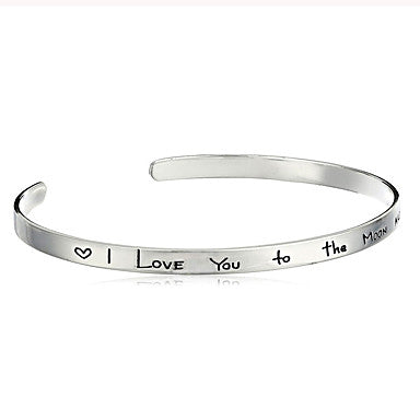 Minimalist I Love You To The Moon And Back Love Quote Bracelet Silver