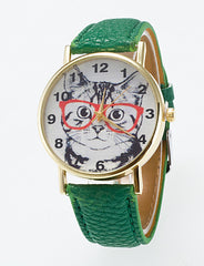 Cute Cat Wearing Glasses Quartz Wrist Watch