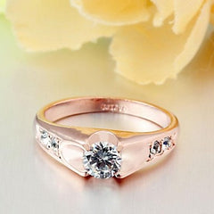 Rose Gold Cubic Zirconia Ring For Engagement, to Accessorize or For Those Girls Who Like Pink