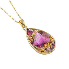 Multicolored Dichroic Fused Geode Tear Drop Shaped Pendant
