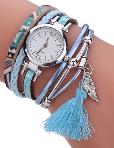 Women's Bohemian Wing Charm Bracelet Watch With Tassel
