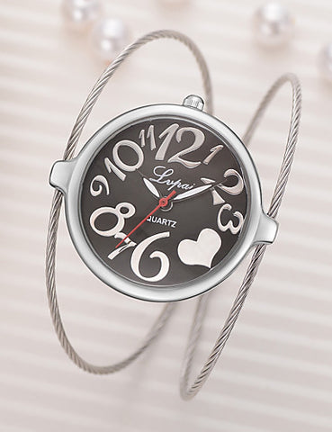 Cute Heart Bangle Bracelet Watch