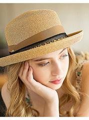 Brown Up Brim Fedora Hat