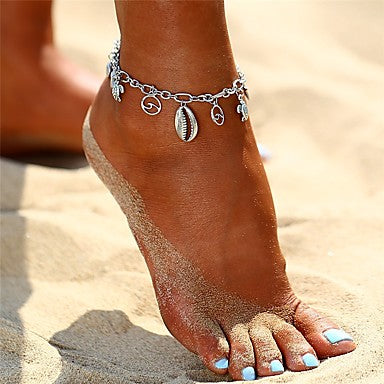 Silver Boho Ocean Wave and Shell Beach Charm Anklet