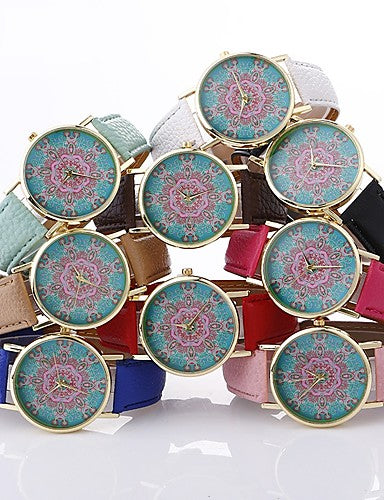 Boho Style Mandala Flower Kaleidoscope Fashion Wrist Watch