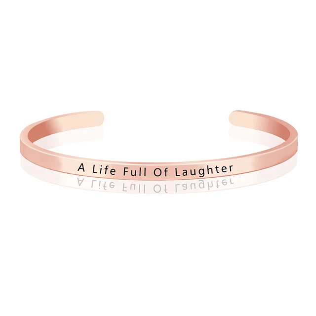Minimalistic and Adjustable A Life Full Of Laughter Life Quote Bangle Bracelet Cuff Rose Gold