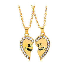 Gold Colored Heart Shaped Best Friends Necklace For 2