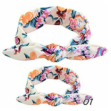 Bowknot Printed Fabric Wide Headbands