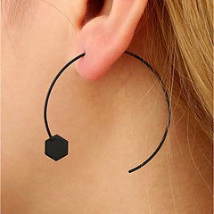 All Black Hexagonal Open Hoop Earrings
