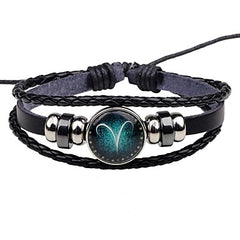 Astrology Zodiac Sign Leather Adjustable Bracelet