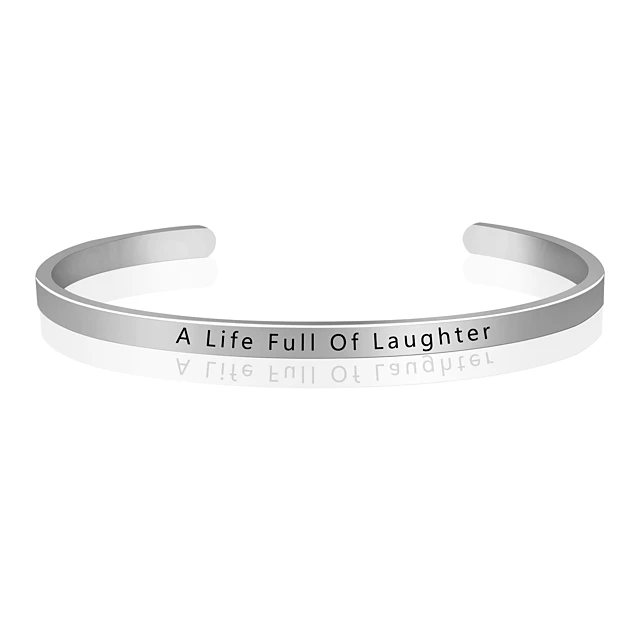 Minimalistic and Adjustable A Life Full Of Laughter Life Quote Bangle Bracelet Cuff Silver