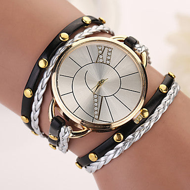 Bohemian Swirl Analog Wrap Bracelet Watch Black