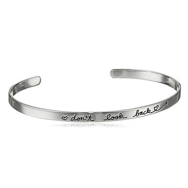 Minimalist Don't Look Back Open Bangle Cuff Bracelet