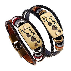 Couples Braided Leather Beaded Love Bracelets
