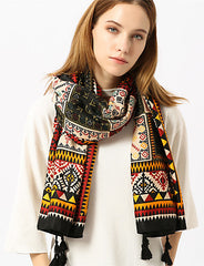 Black Geometric Multicolor Print Polyester Scarf With Black Tassels