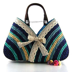 Blue Striped Straw Tote Bag With Lace Bow