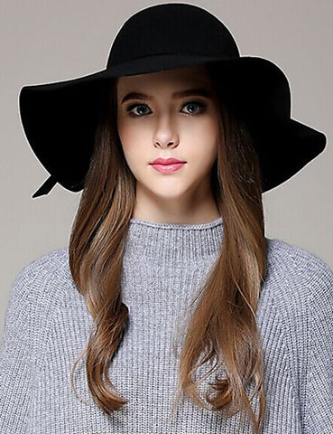Women's Solid Colored Wool Wide Brim Sunhat All Seasons