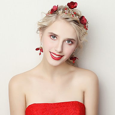 Red Flower Headpiece With Matching Earrings