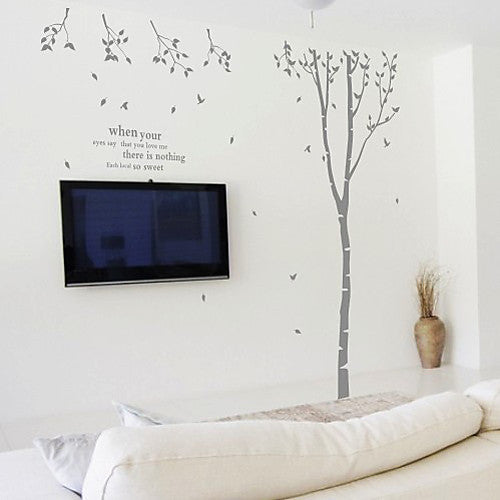 Eyes Speak More Than Words Love Quote and Tree Wall Decal